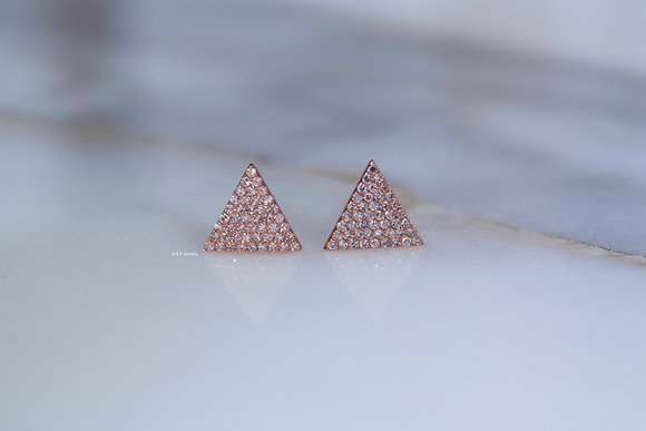 14K Rose Or White Gold Diamond Triangle Stud Earrings- Has Matching Necklace