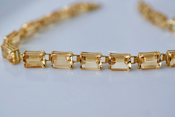 14K Yellow Gold Emerald Cut 15.30 Carat Citrine Bracelet