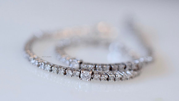 18K White Gold Diamond Line Bracelet- Has Matching Necklace & Double Version
