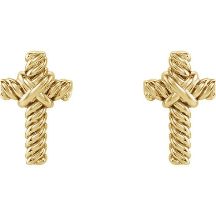 Any Color Solid 14K Gold Rope Style Cross Studs
