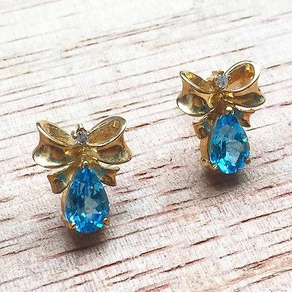 Swiss Blue Topaz And Diamond Earrings