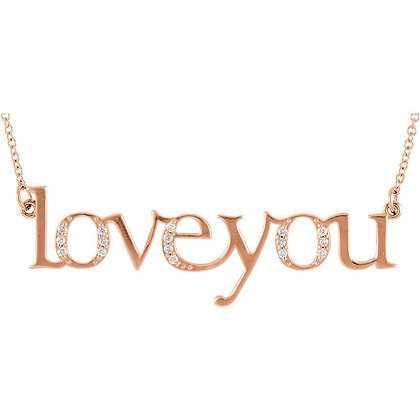 """Any Color 14K Gold Diamond """"Love You"""" Necklace"""