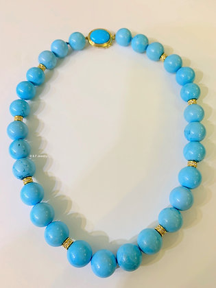 Beaded Style Turquoise And Diamond Necklace