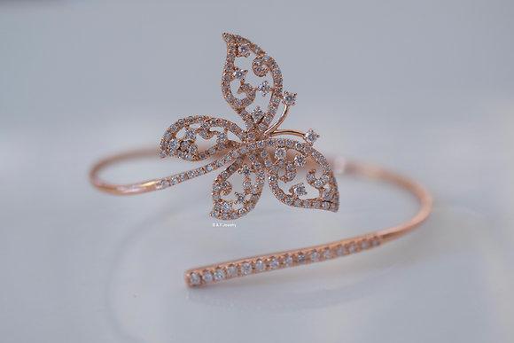 14K Rose Gold Diamond Butterfly Bangle  14K Rose Gold Diamond Butterfly Bangle