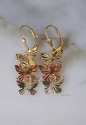 Trcolor Butterfy Dangle Earrings