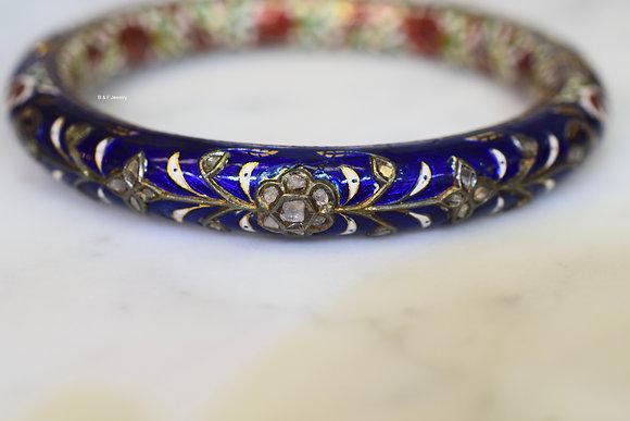 Vintage 18K Gold Diamond And Enamel Bangle With Optional Matching Ring