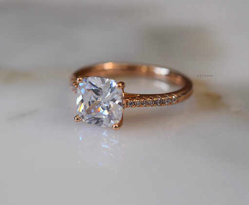 Champagne Gold Plated Diamond Inspired Cushion Cut Ring