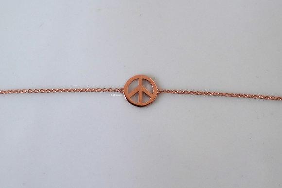 14K Rose Gold Peace Sign Bracelet