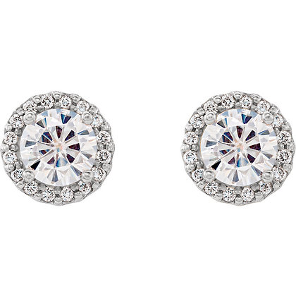Moissanite And Diamond Halo Studs- White Or