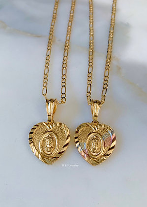Tricolor Gold Plated Virgin Mary Heart Necklace