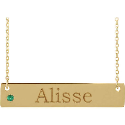Any Color 14K Gold Engravable Birthstone Necklace