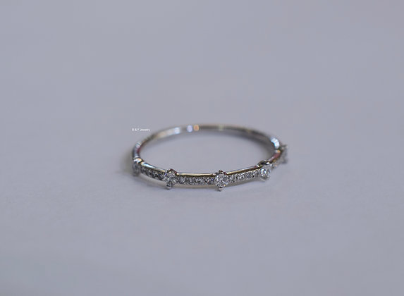 14K White Gold Dainty Diamond Band