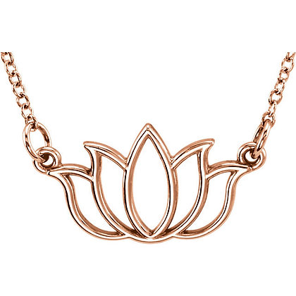 Lotus Necklace: 14K White, Yellow, Or Rose Gold