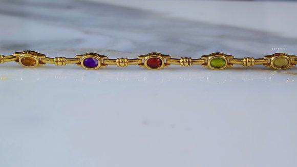 14K Yellow Gold MultiColor Cabochon Bracelet