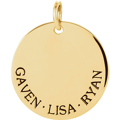 Any Color 14K Gold Engravable Family Necklace