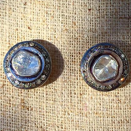 Vintage Style Halo Diamond Studs