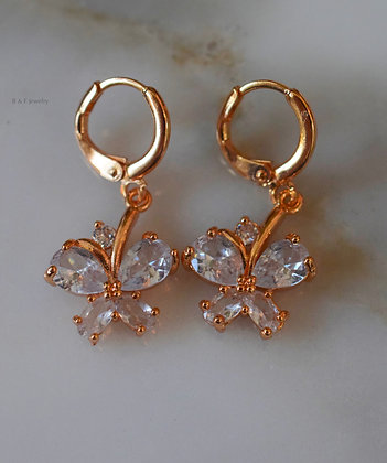Champagne Gold Plated Diamond Inspired Butterfly Dangle Earrings