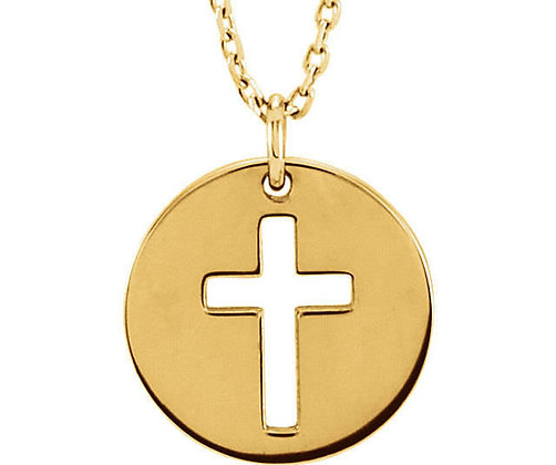 Any Color 14K Gold Disk Cross Necklace And/Or Earrings