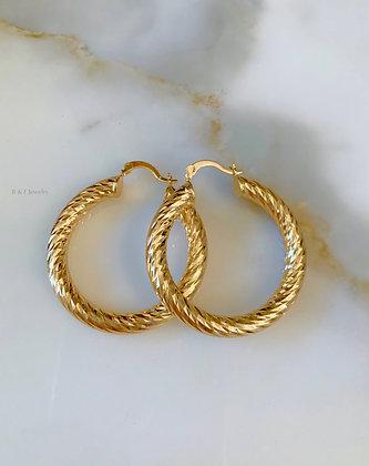 Gold Plated Diamond Cut Tube Hoops