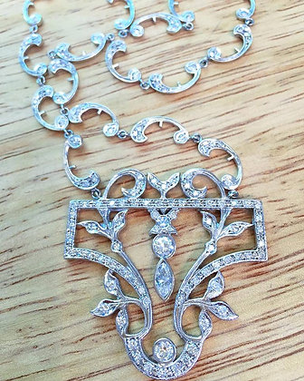 14K White Gold Vintage Style Diamond Necklace