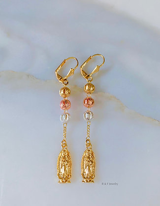 Tricolor Gold Dipped Virgin Mary Drop Earrings