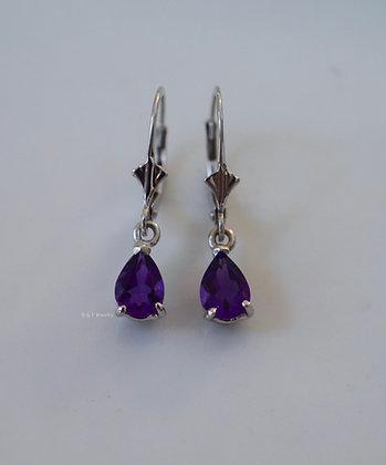 14K White Gold Dainty Pear Shape Amethyst Dangle Earrings