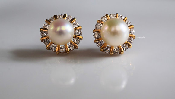 14K Gold Pearl Studs With Removable Diamond Jackets