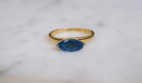 14K Gold Marquise Shaped London Blue Topaz Ring