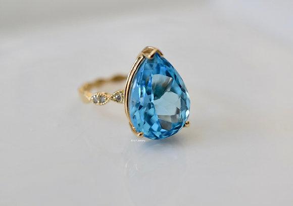 11.33 Carat Pear Shape Swiss Blue Topaz And Diamond Ring- Has Band