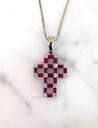 14K White Gold Ruby And Diamond Cross