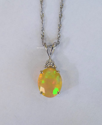 14K White Gold Oval Opal And Diamond Pendant With Chain
