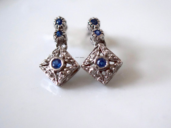Vintage Style Sapphire And Diamond Earrings