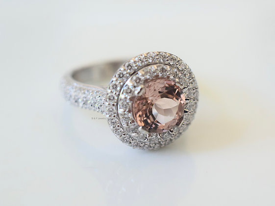 14K White Gold Double Halo Round Morganite And Diamond Ring