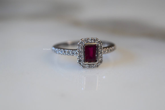 14K White Gold Emerald Cut Ruby And Diamond Ring