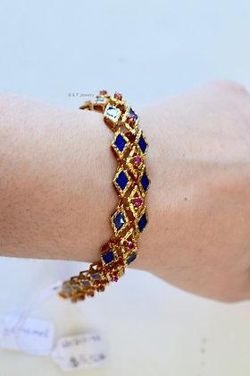 Vintage 18K Gold Ruby And Blue Enamel Bracelet