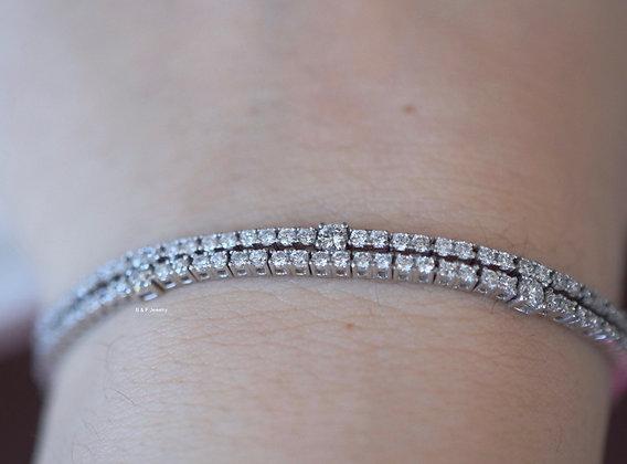 18K White Gold Diamond Double Line Bracelet- Has Matching Necklace & Single Line