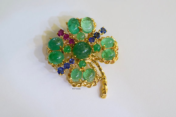 14kt Yellow Gold Multi-Colored Four-Leaf Clover Pendant/Brooch