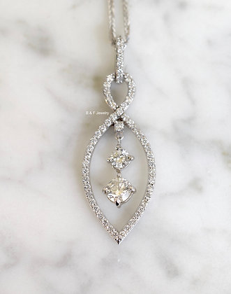 14K White Gold 1.26 Carat Diamond Infinity Necklace