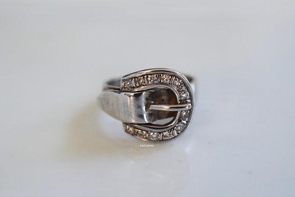 Vintage 18K White Gold Diamond Buckle Midi Or Pinky Ring