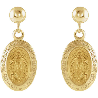 14K Gold Miraculous Mary Dangle Earrings- Has Necklace