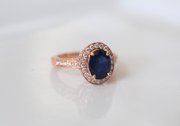 14K Rose Gold Oval Sapphire And Diamond Ring