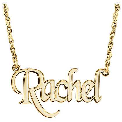Any Color 14K Gold Block Nameplate Necklace