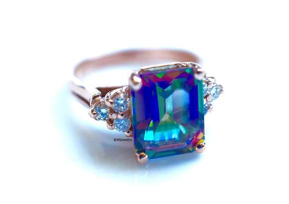 Rose Gold 3.49ctw Checkerboard Emerald Cut Mystic Topaz And Diamond