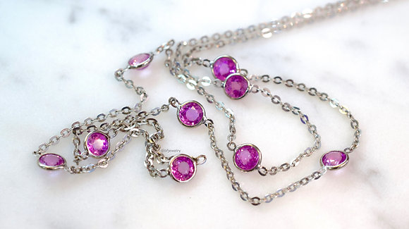 3.36 Carat Pink Sapphire Station Necklace