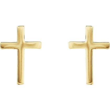 Any Color 14K Gold Cross Stud Earrings