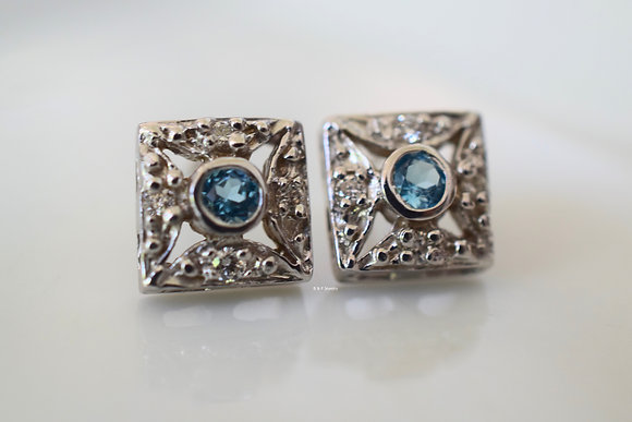 vintage Style 14K White Gold Blue Topaz And Diamond Earrings