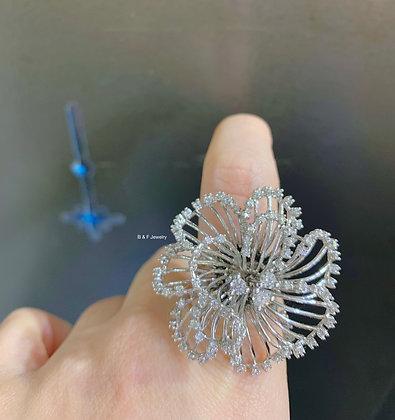 14K White Gold Large Diamond Flower Ring