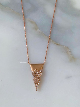 14K Rose Gold Baguette Diamond Triangle Necklace
