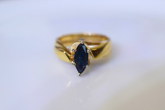 14K Yellow Gold Marquise Shape Sapphire Solitaire Ring