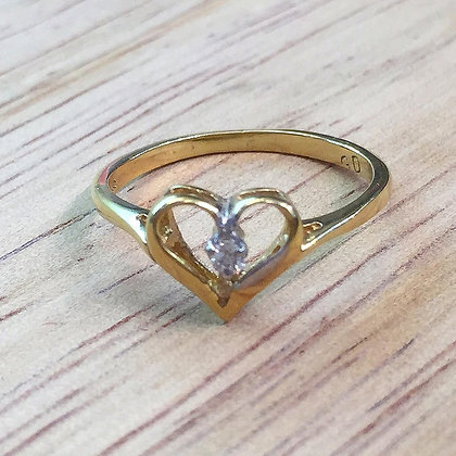 14K White Or Yellow Diamond Heart Ring- Has Earrings And Necklace